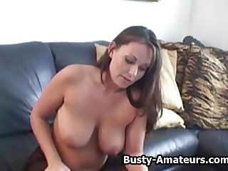 Busty amateur Lesley masturbates after her first interview
