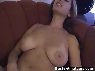 Busty amateur Lilli masturbates her pussy after interview
