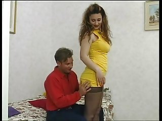 East European Amateur with natural tits fucks in nylons