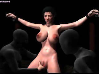 Tied up animated hooker with big tits gets dildoed