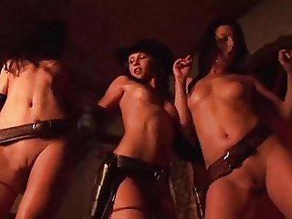 THE FUCKABLE THREE - oily cowgirl stripping tease leather