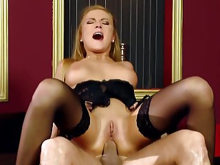 Meg fucked in thigh high stockings and gloves