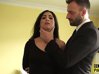 Squirting brit submissive is cumswallowing