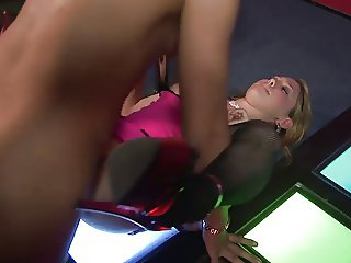 Stunning dame gives a fascinating blowjob to a jumbo cock