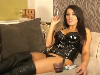 charley atwell smoking in latex and leather