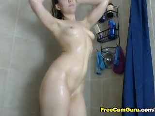 Hot Teen Showers and Rides her Toy
