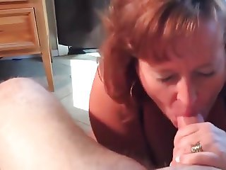 Mature Dawn sucks her boyfriends cock