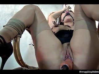 Billie Star bound ballgagged tit-slapped whipped vibed machine-fucked