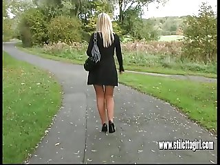 Hot blonde stiletto girl Jess stimulate fetish in high heels