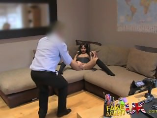 FakeAgentUK Agent stretches tiny ebony arsehole