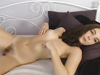 Pretty Chick Hairy Pussy Chillin on Webcam