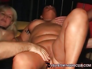 Velvet Swingers Club party with mature slut wives Gangbang