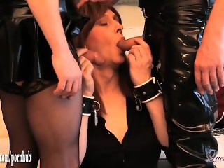 Horny Tgirl Luci May has naughty latex spanking and cock sucking threesome