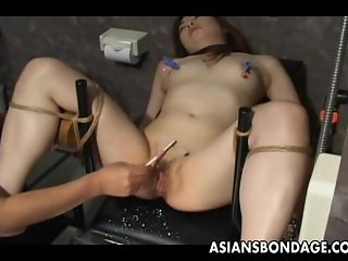 Asian slave tied up and toy fucked terrifical