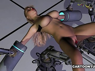 Busty 3D Babe Fucked by a Machine