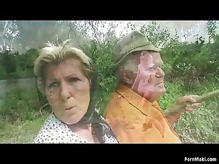 Grandpa fucks busty granny and teen outdoor