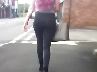 Sexy blonde body booty walking in tight jeans