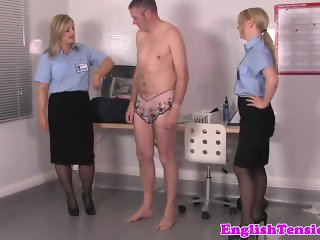 Uniformed femdoms assfinger and spank sissyboy sub
