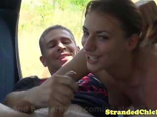 Amateur hitchhiker jacking off lucky driver