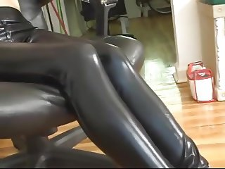 BOUND AND GAGGED DROOLING LEATHER LEGGINGS HOTTIE