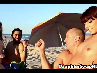 Two Dad's At Beach Decide To Swap Teen Daughters