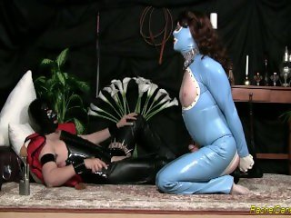 Rubber Shemale Sex Slave whipped, fucked in the ass and cum upon!