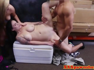 Pawnshop babes sucking balls and cock in trio