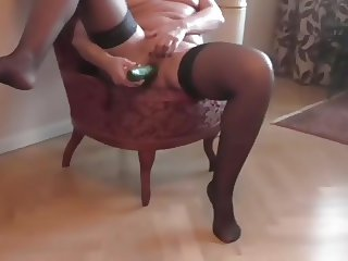 Horny Milf Playing with cucumber