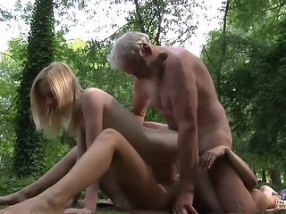 Grandpa huge dick fucking two young tight pussies