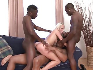 CUTE  BLONDE GANBANGED BY 4 BBC BULLS
