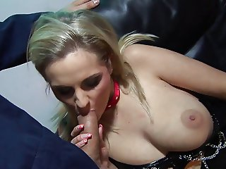 Busty chic in fishnet stockings gets slammed hard with a huge shaft