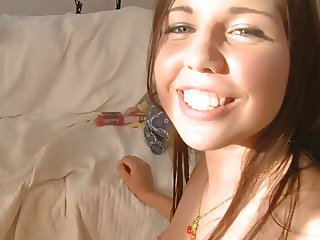 Fresh faced babe moans with ecstasy while boy fuck sher hard