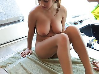 Gorgeous girls with bouncy tits fuck in the shower