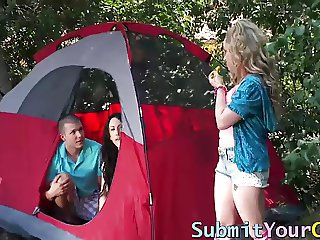 Cock loving slut Aiden Starr takes a dick on a camping trip