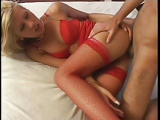 Hot chick stuffs pussy with hard cock