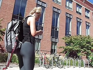 Gray Tighty Tights Yoga Blonde Girl