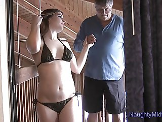 Evelyn Castile - creampied by her bf's grandfather again!