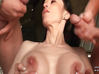 Big boobed french milf hard analyzed in 3way outdoor