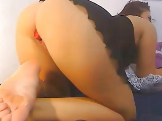 Brunette big round ass chubby pussy, dildo in ass and pussy
