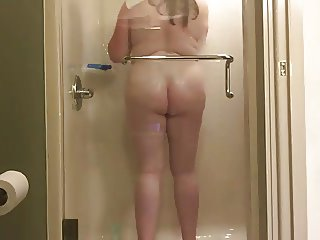Furry Kitty takes a long hot shower