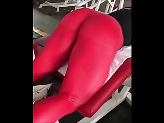 red spandex in gym