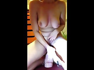 Teen with hanger tits riding dildo