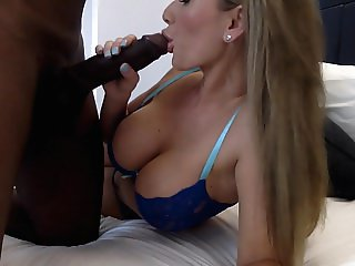 Blonde Stunner has fun to with a giant black dicked stud