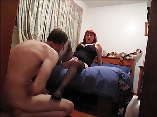Red Head Slut Stocking  Feet Licked