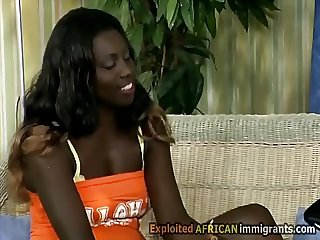 Horny African hottie seduces a white man