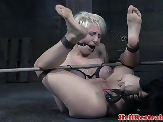 Restrained pierced sub tormented with toys