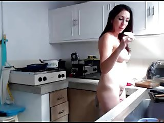 Nudist Colombian Milf cooking naked