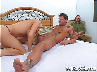 Blonde wife fucks porn stud in front of husband
