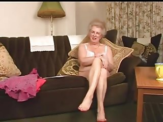 Scottish gran Busty talks and strips