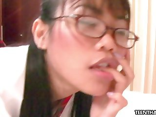 Naughty Thai school babe getting freaky in a pov video